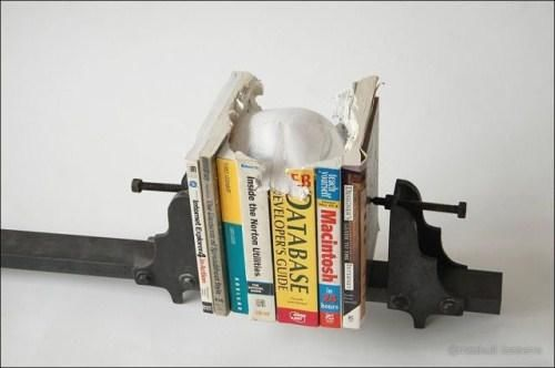 Skull Sculpture Made Out Of Books