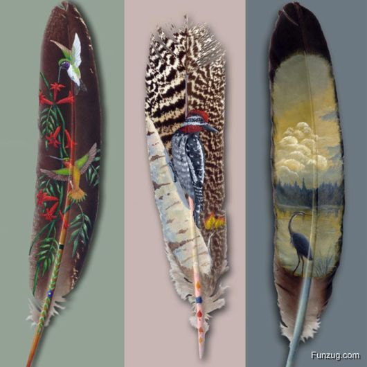 Amazing Feather Paintings Art