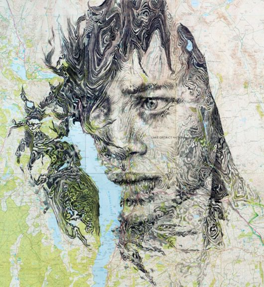 Incredible Portraits Drawn On Maps