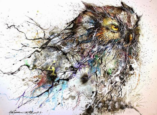Stunning Owl Painting - Chaotic Splashes Of Color