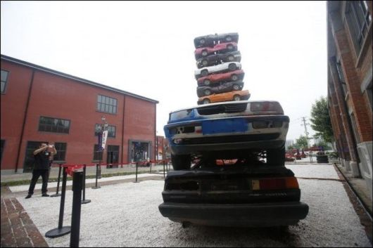 A Tower Of Old Cars Made In China