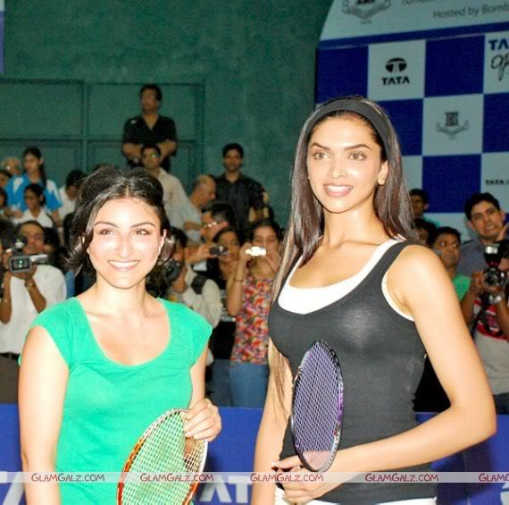 Deepika Padukone and Soha Ali Khan at the first Tata Badminton