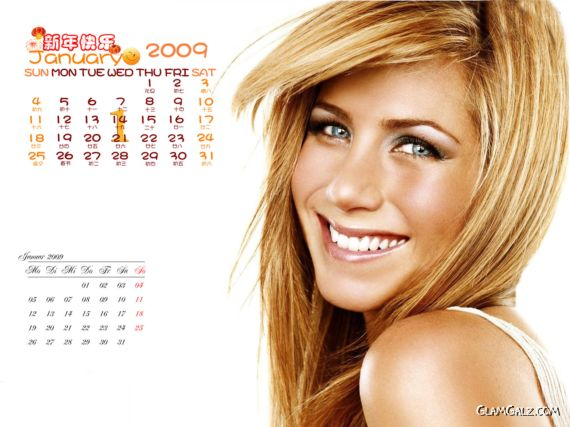 Click to Enlarge - Jennifer Aniston Desktop Calendar 2009