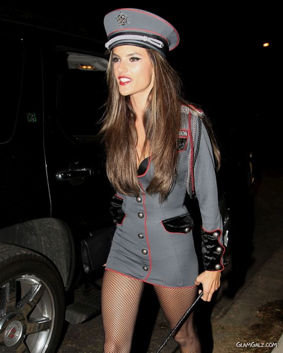 Alessandra Ambrosio Got Ready For Halloween Party