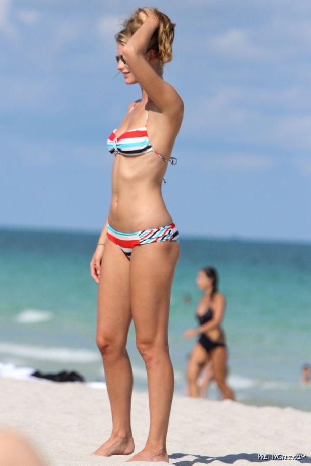 Julie Henderson in Striped Bikini On Beach